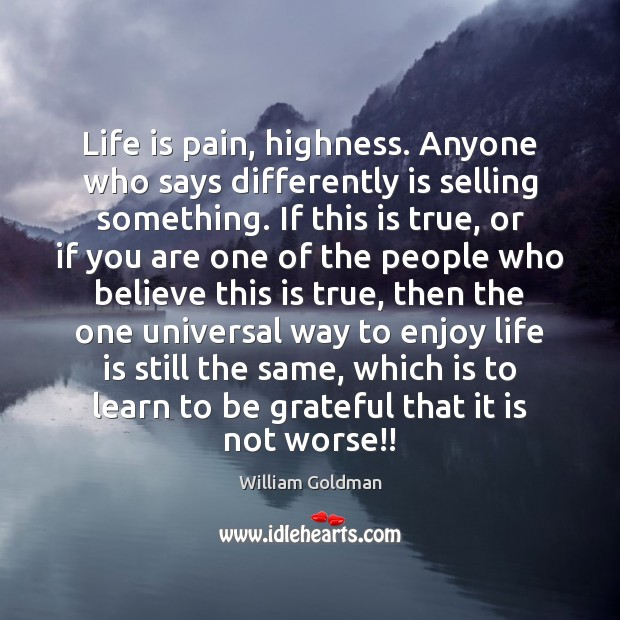 Life is pain, highness. Anyone who says differently is selling something. If Be Grateful Quotes Image