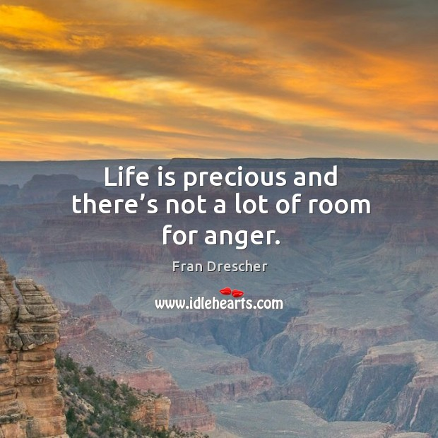 Life is precious and there's not a lot of room for anger. Fran Drescher Picture Quote