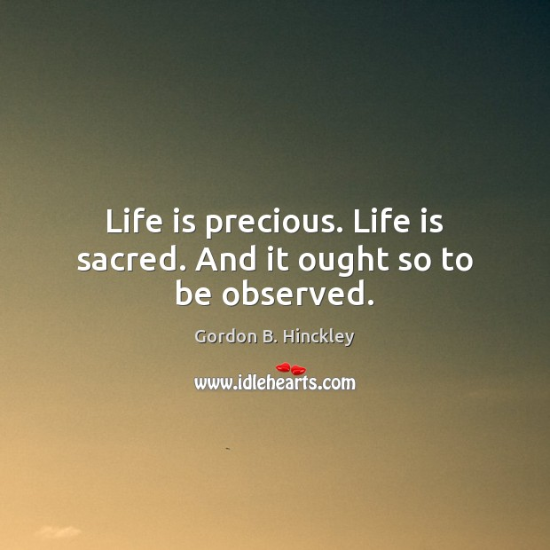 Life is precious. Life is sacred. And it ought so to be observed. Image