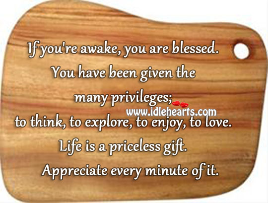 Life Is A Priceless Gift. Appreciate Every Minute of it.