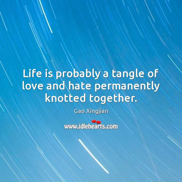 Life is probably a tangle of love and hate permanently knotted together. Hate Quotes Image