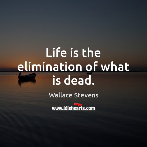 Life is the elimination of what is dead. Image