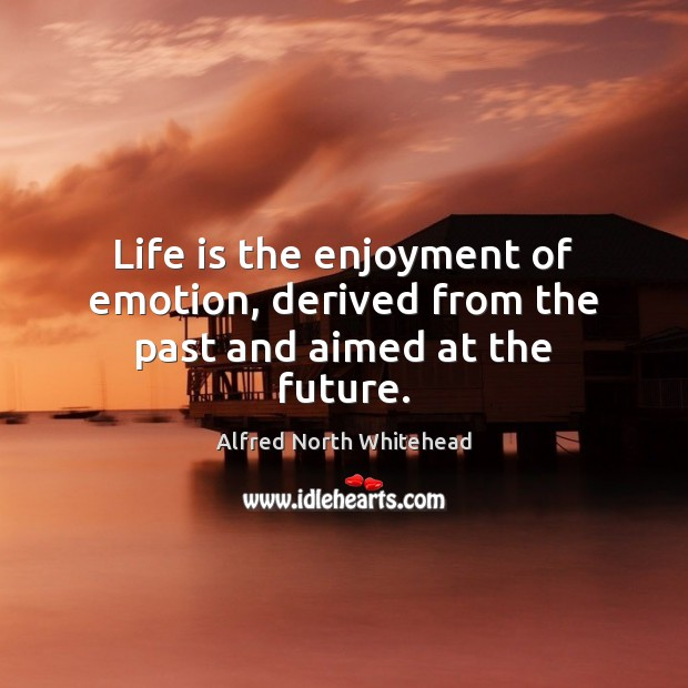 Image, Life is the enjoyment of emotion, derived from the past and aimed at the future.