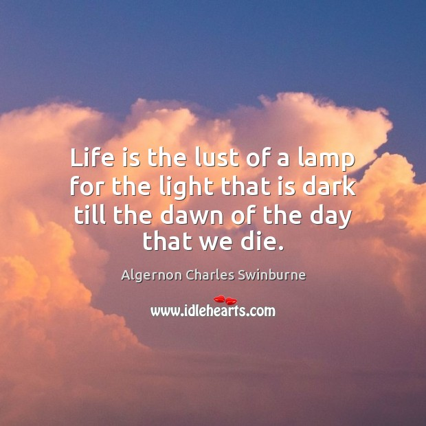 Life is the lust of a lamp for the light that is Image