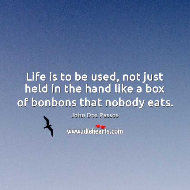 Image, Life is to be used, not just held in the hand like a box of bonbons that nobody eats.