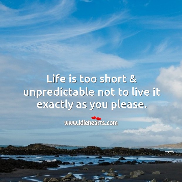 Life is too short & unpredictable not to live as you please. Life is Too Short Quotes Image