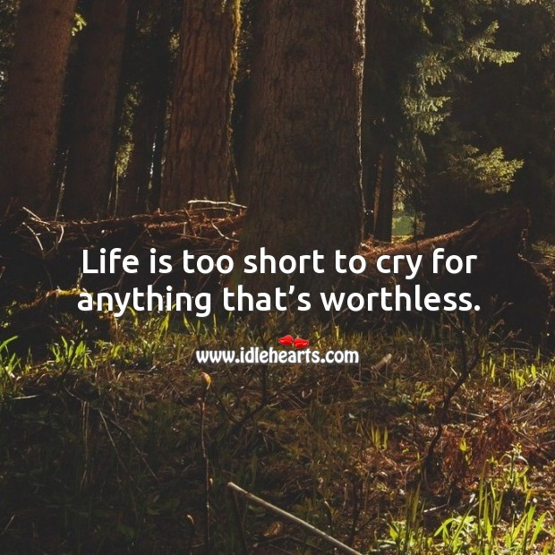 Image, Life is too short to cry for anything that's worthless.