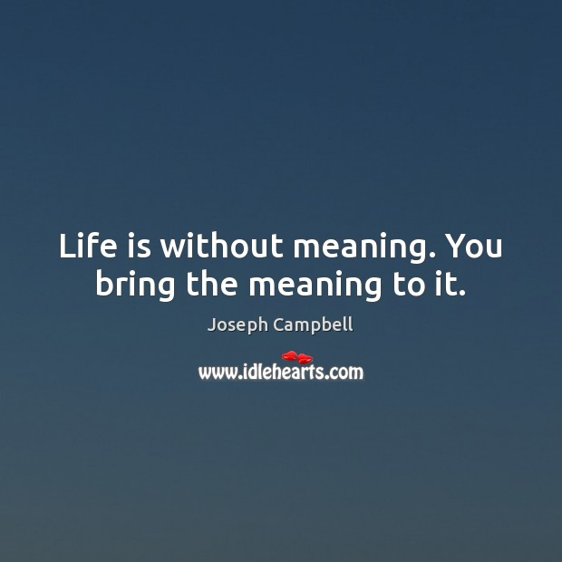 Life is without meaning. You bring the meaning to it. Image