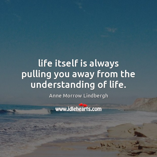 Image, Life itself is always pulling you away from the understanding of life.