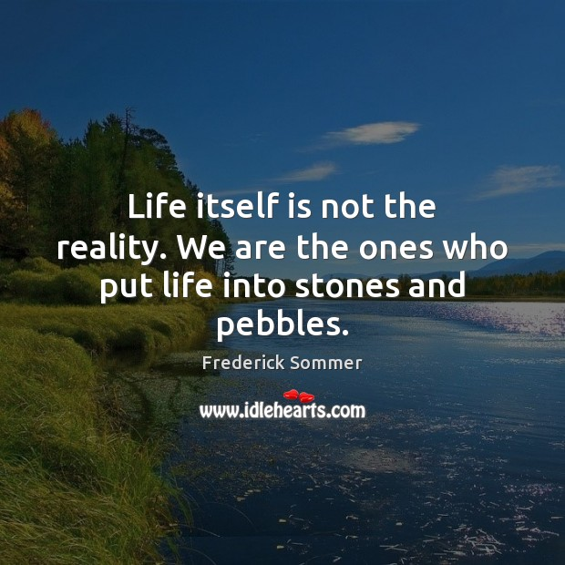 Image, Life itself is not the reality. We are the ones who put life into stones and pebbles.
