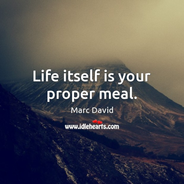 Life itself is your proper meal. Image