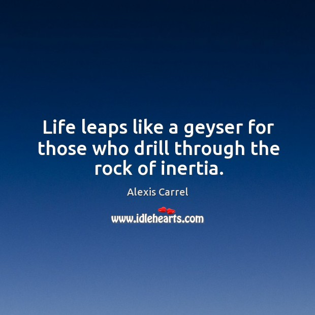 Image about Life leaps like a geyser for those who drill through the rock of inertia.