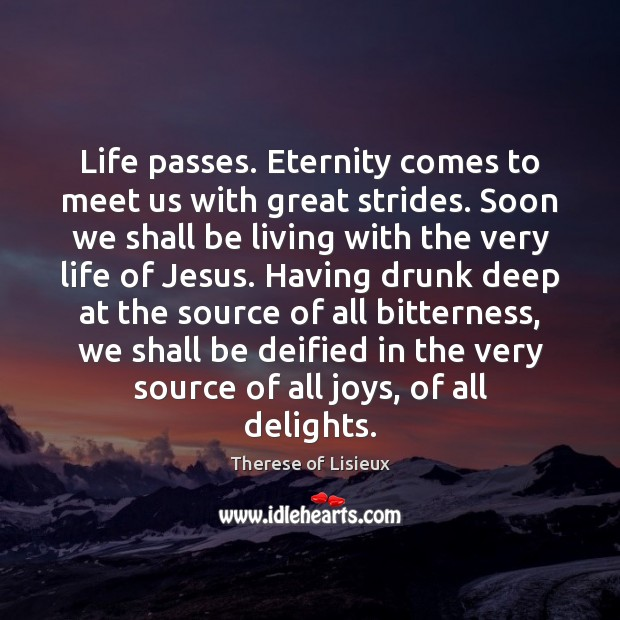 Life passes. Eternity comes to meet us with great strides. Soon we Therese of Lisieux Picture Quote