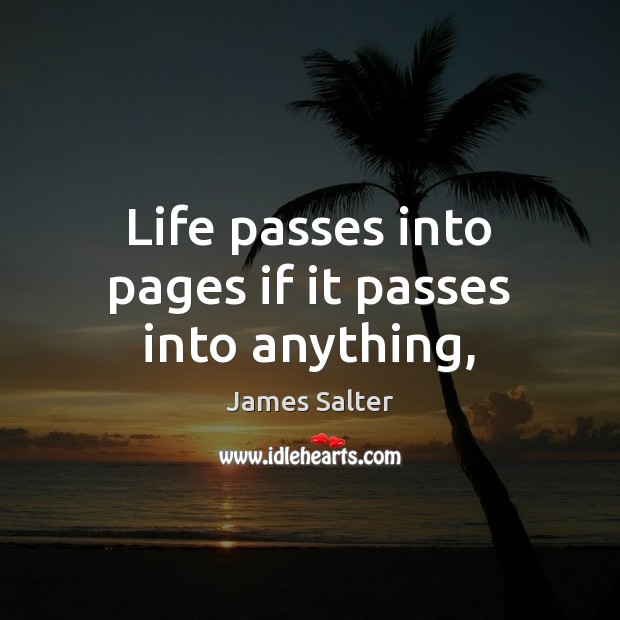 Life passes into pages if it passes into anything, James Salter Picture Quote