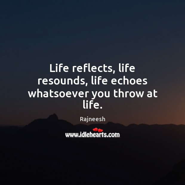 Image, Life reflects, life resounds, life echoes whatsoever you throw at life.