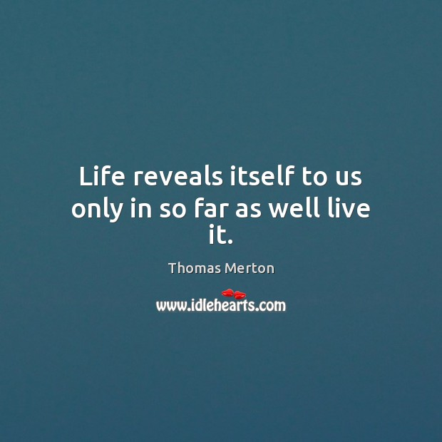 Life reveals itself to us only in so far as well live it. Image