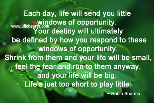 Every day, life will send you little windows of opportunity. Robin Sharma Picture Quote