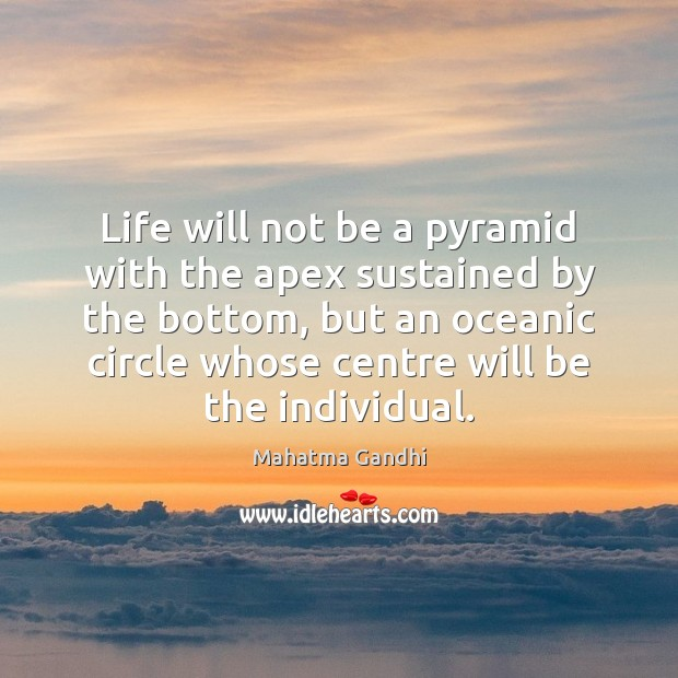 Life will not be a pyramid with the apex sustained by the Image