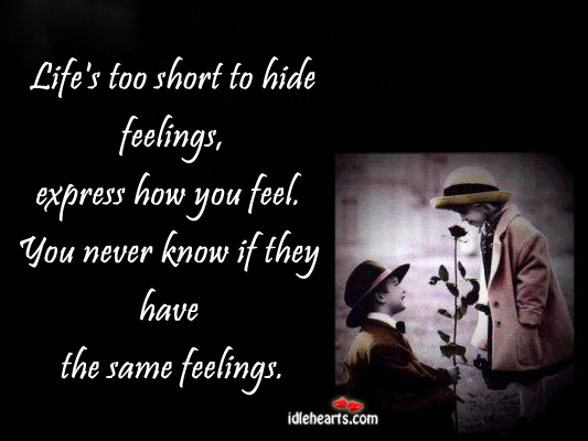 Quotes life's too short to hide feelings express how you feel