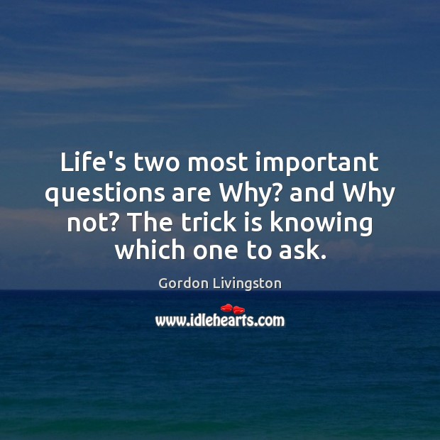 Life's two most important questions are Why? and Why not? The trick Image