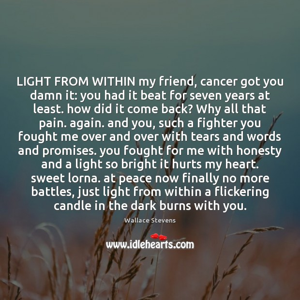 LIGHT FROM WITHIN my friend, cancer got you damn it: you had Image
