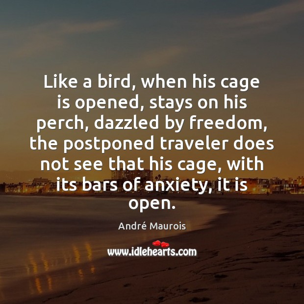 Like a bird, when his cage is opened, stays on his perch, André Maurois Picture Quote
