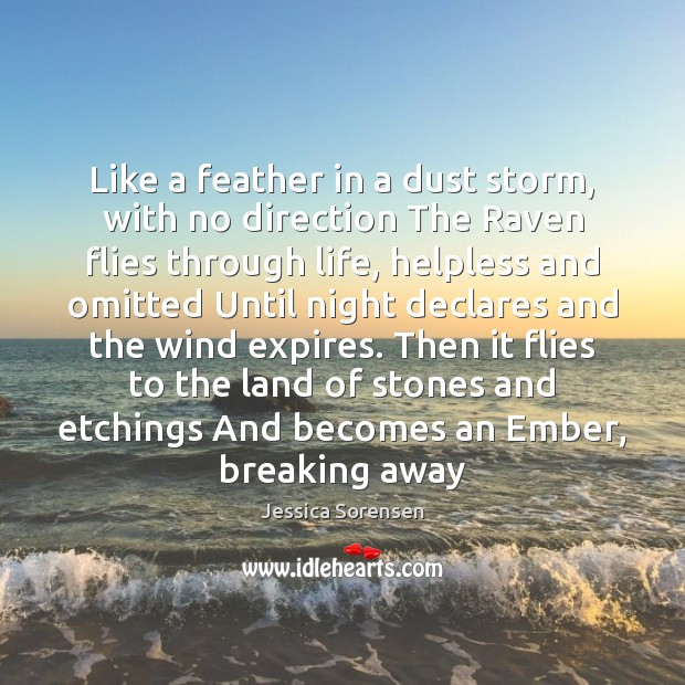 Like a feather in a dust storm, with no direction The Raven Image