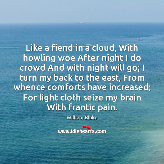 Like a fiend in a cloud, With howling woe After night I William Blake Picture Quote