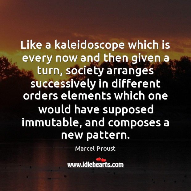 Image, Like a kaleidoscope which is every now and then given a turn,