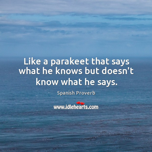 Image, Like a parakeet that says what he knows but doesn't know what he says.