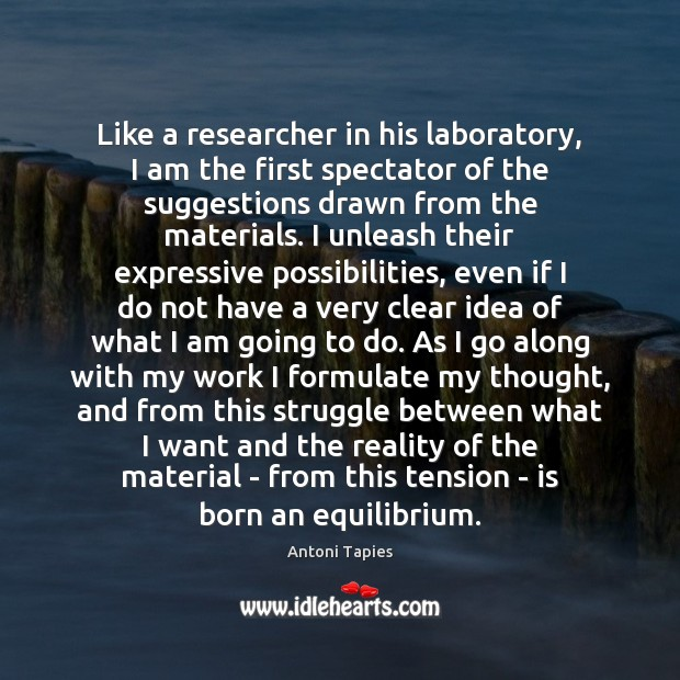 Image, Like a researcher in his laboratory, I am the first spectator of