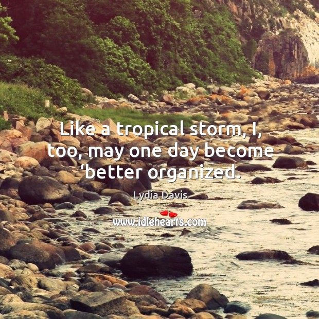 Like a tropical storm, I, too, may one day become 'better organized. Image