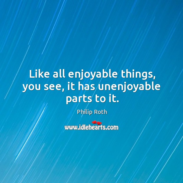 Image, Like all enjoyable things, you see, it has unenjoyable parts to it.