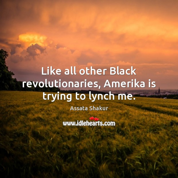 Like all other Black revolutionaries, Amerika is trying to lynch me. Assata Shakur Picture Quote