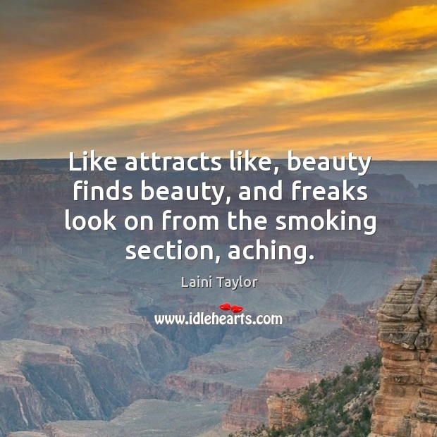 Like attracts like, beauty finds beauty, and freaks look on from the Image