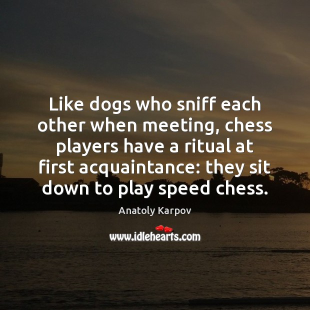 Image, Like dogs who sniff each other when meeting, chess players have a