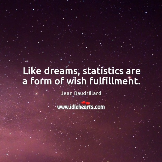 Like dreams, statistics are a form of wish fulfillment. Image