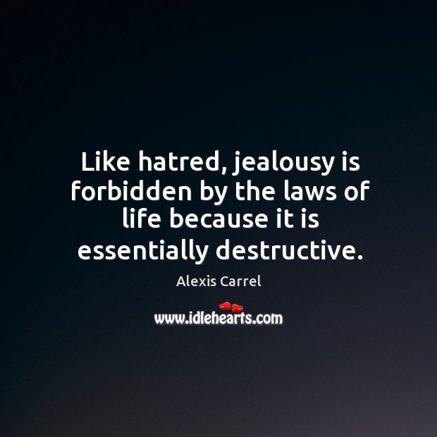 Image, Like hatred, jealousy is forbidden by the laws of life because it is essentially destructive.