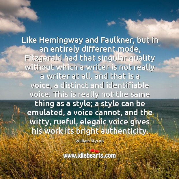 faulkner and hemingway comparing and