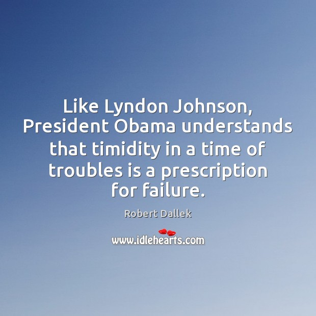 Image, Like Lyndon Johnson, President Obama understands that timidity in a time of