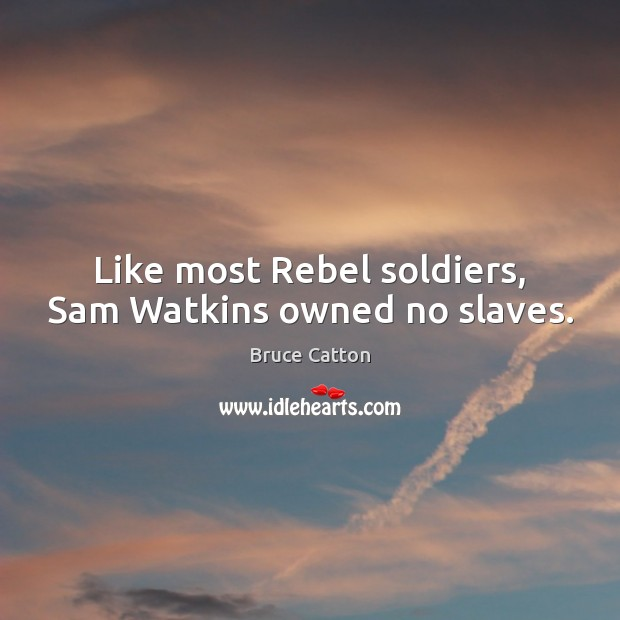 Image, Like most Rebel soldiers, Sam Watkins owned no slaves.