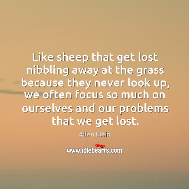 Like sheep that get lost nibbling away at the grass because they never look up Image