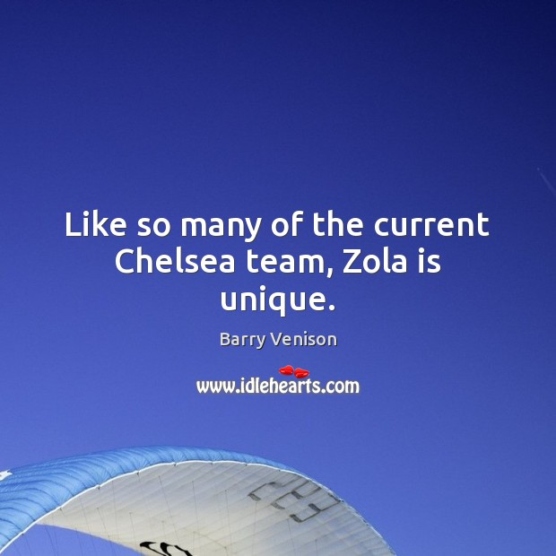 Image, Like so many of the current Chelsea team, Zola is unique.