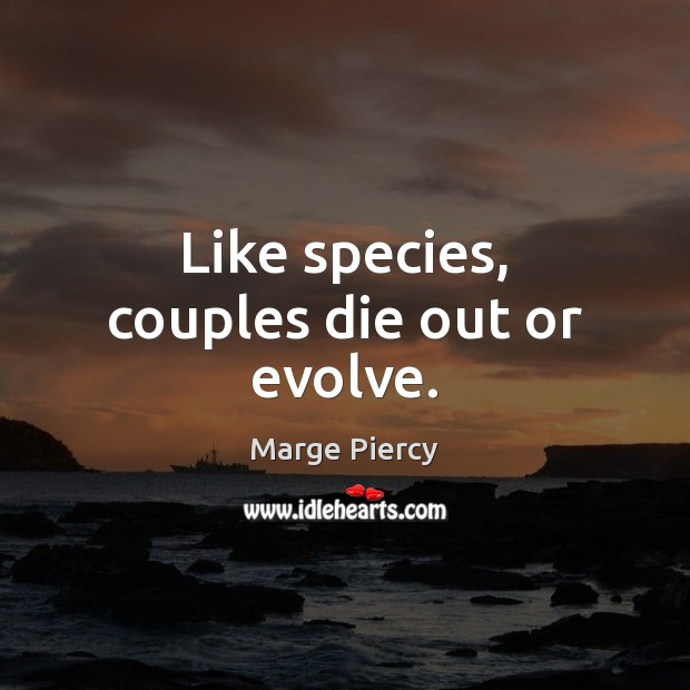 Like species, couples die out or evolve. Marge Piercy Picture Quote