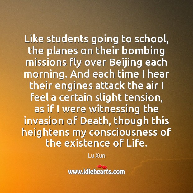 Like students going to school, the planes on their bombing missions fly Image