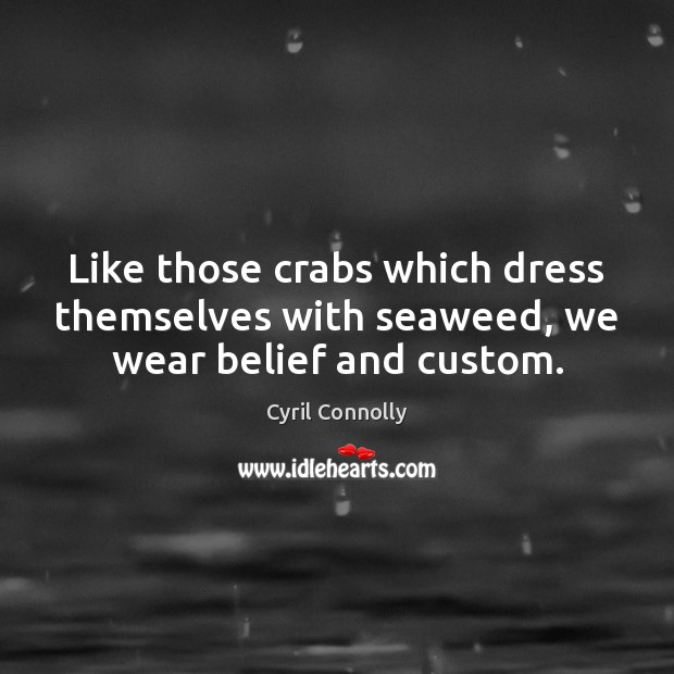 Image, Like those crabs which dress themselves with seaweed, we wear belief and custom.
