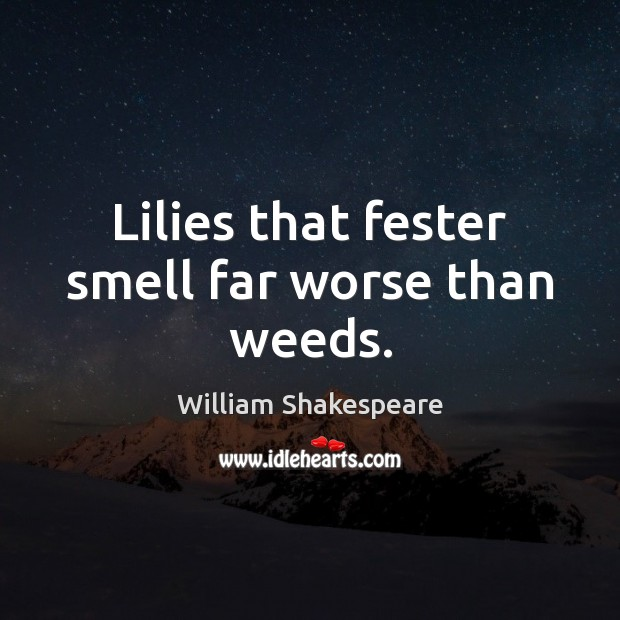 Image, Lilies that fester smell far worse than weeds.