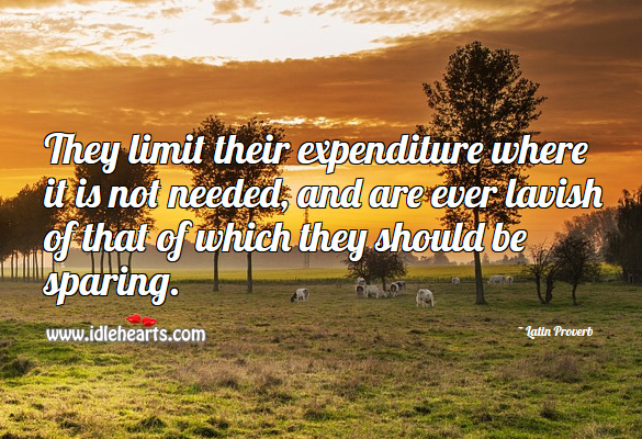 They limit their expenditure where it is not needed Latin Proverbs Image