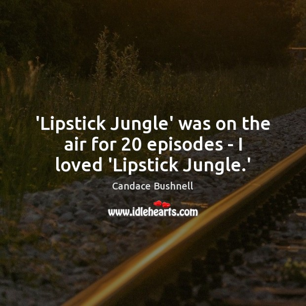'Lipstick Jungle' was on the air for 20 episodes – I loved 'Lipstick Jungle.' Candace Bushnell Picture Quote