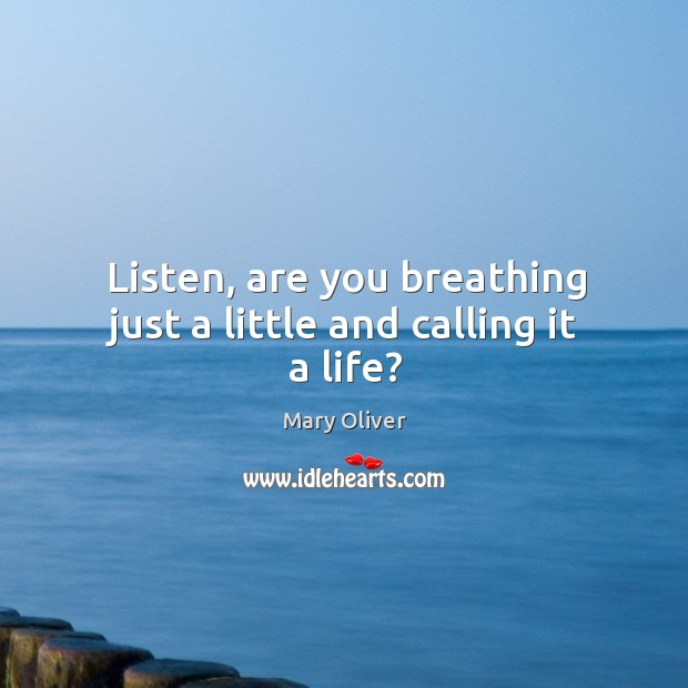Image, Listen, are you breathing just a little and calling it a life?